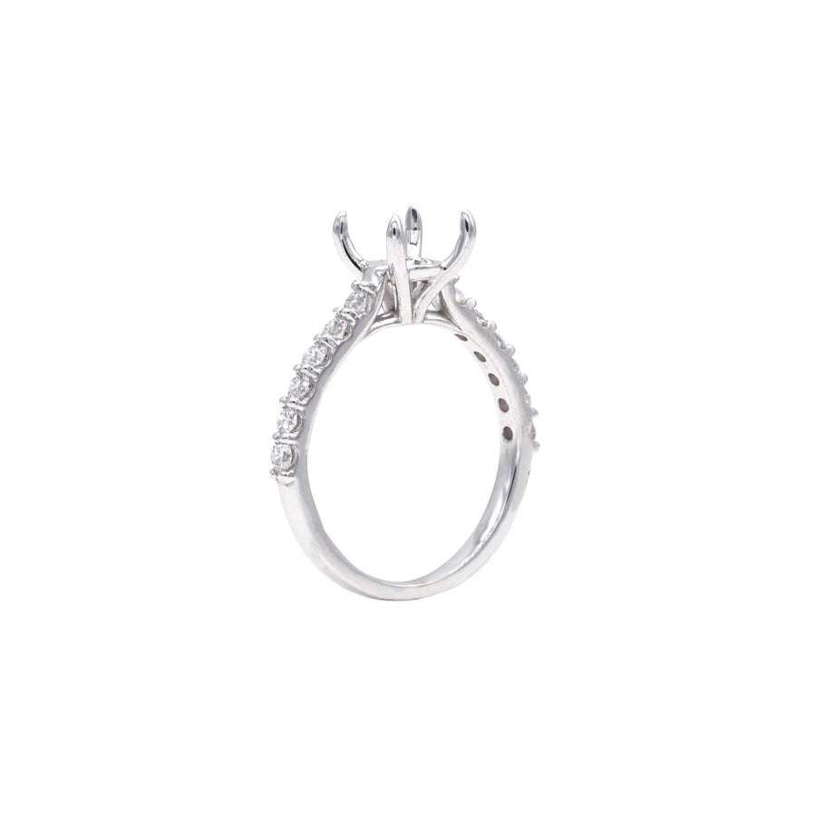 Accented Classic Solitaire Claw Prong Semi-Mount in 14K White Gold - SM0577