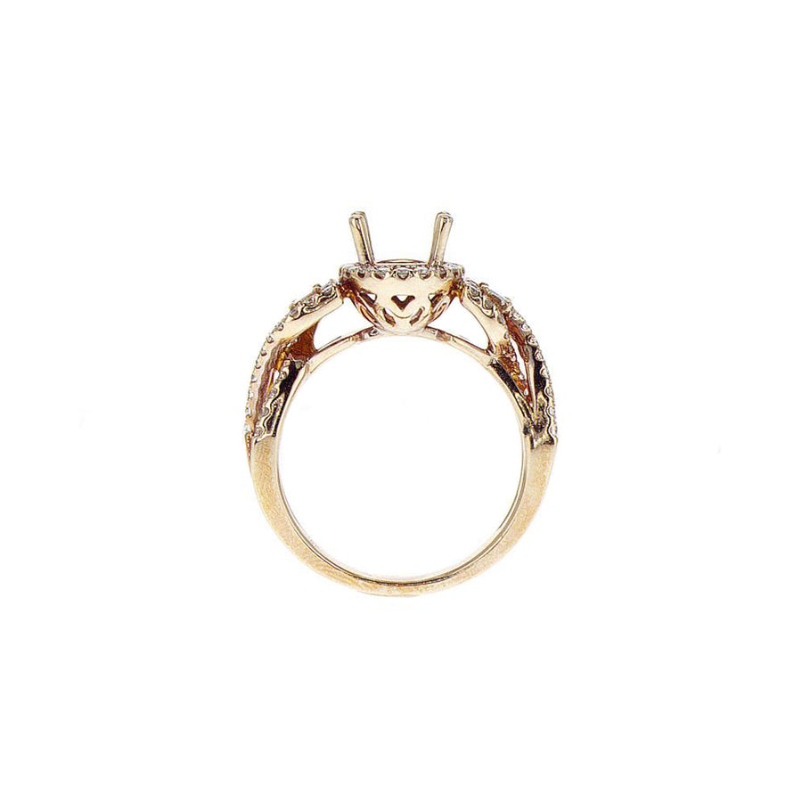 Three Stone Oval Halo Twisted Semi-Mount in 18K Rose Gold - SM0601