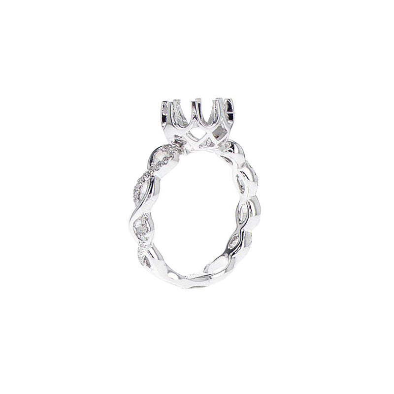 18K White Gold Infinity Twist Convertible Ring-to-Pendant Semi-Mount - SM0739