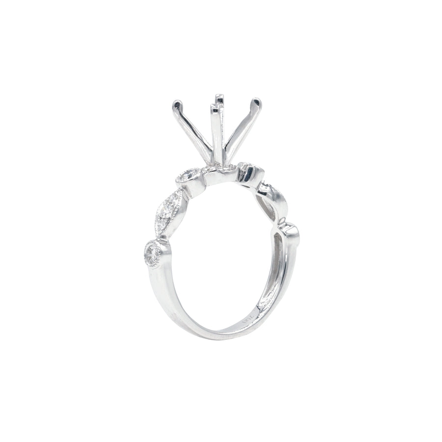Alternating Milgrain Round and Cluster Semi-Mount in 18K White Gold - SM0747