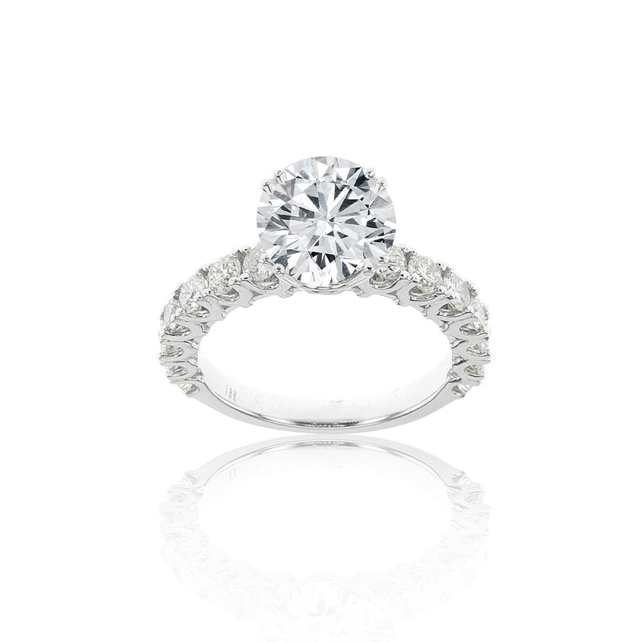 Double Pronged Classic Solitaire Semi-Mount in 18K White Gold - SM0770