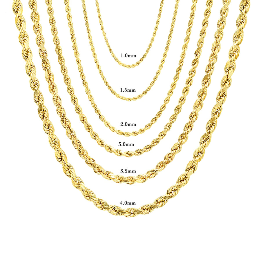 14K Solid Gold Rope Chain 24
