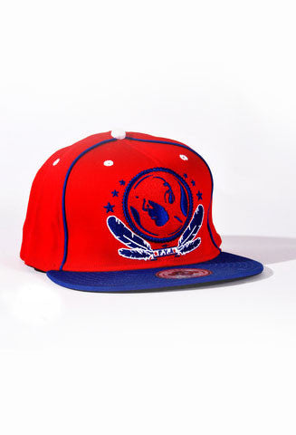 Blue & Red FV Hat fitted with elastic - firstverseapparel