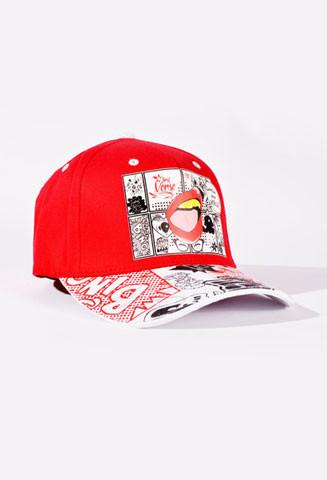 Red & White Sound Effecet Hat Fitted small/med