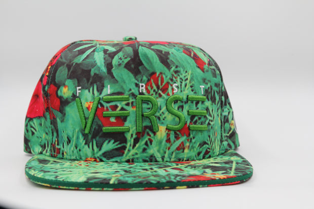Green and red flower base ball snap back. - firstverseapparel