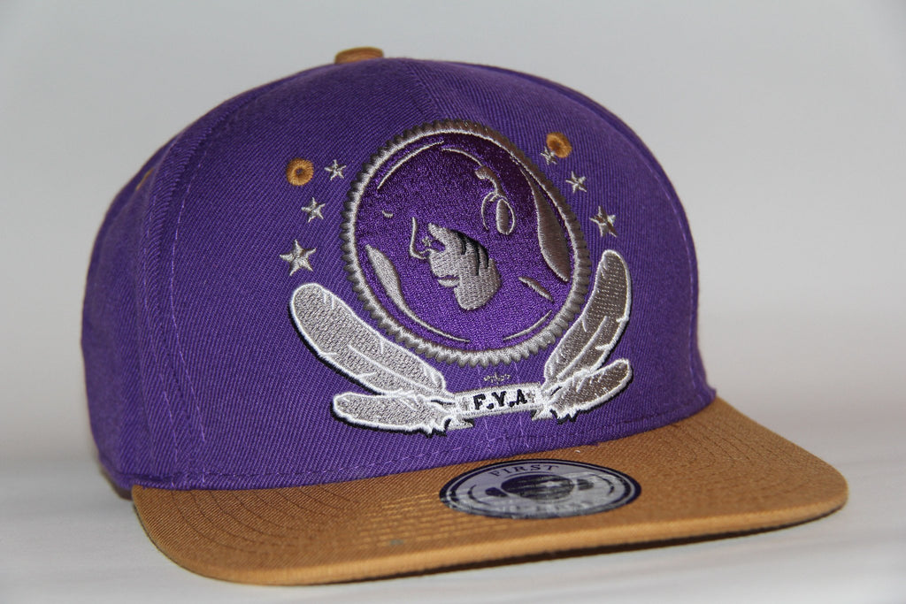 purple/tan Snap Back - firstverseapparel