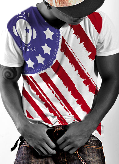 FirstVerse american flag color V-neck T-Shirt - firstverseapparel