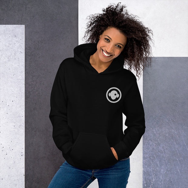 Warm and cozy cotton blend, double stitched women's hoodie with circle logo - firstverseapparel