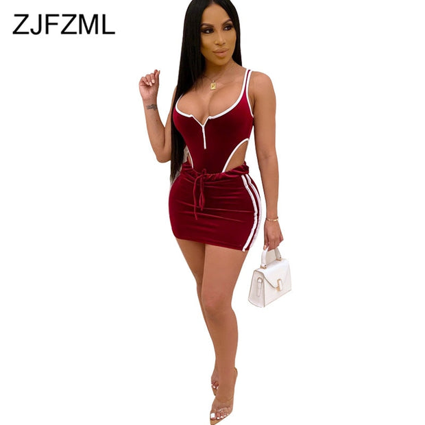 First Verse Striped Sexy 2 Piece Skirt Set Women Clothes 2019 Backless Front Zipper Bodycon Short Bodysuits + Short Skirts Fall Track Suit - firstverseapparel