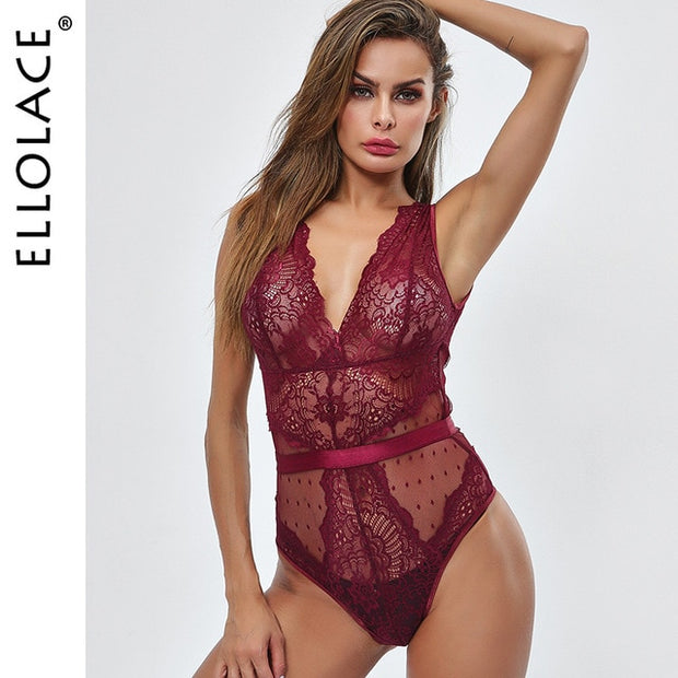 First Verse Lace Bodysuit Women Floral Embroidery Deep V Neck Sexy Bodysuit Dot Patchwork Jumpsuit Overalls 2019 Femlae Body