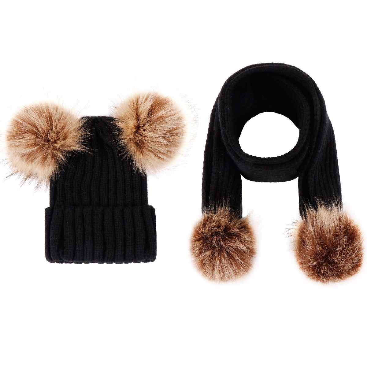 Baby Zone Fur Double Ball Hat and Scarf ™