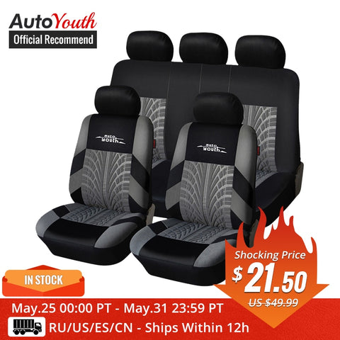 AUTOYOUTH Brand Embroidery Car Seat Covers Set