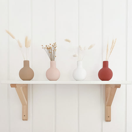 Boho nursery vases. Shelf decor vases available in mocha, pink, white or rust.