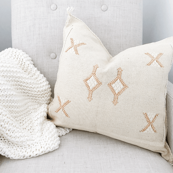 Cream Cactus Silk Cushion on nursery rocking chair