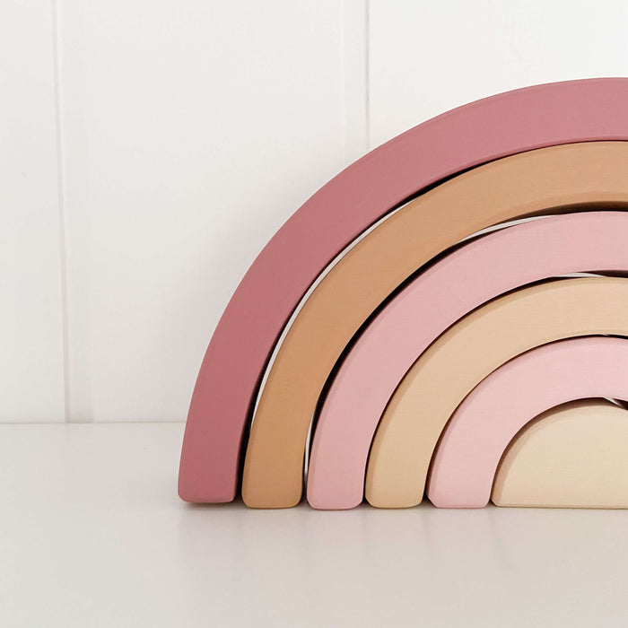 Wooden Rainbow | Dusty Pink & Beige
