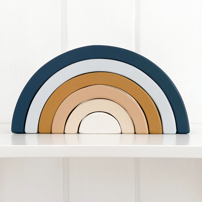 Wooden Rainbow | Navy and Mustard