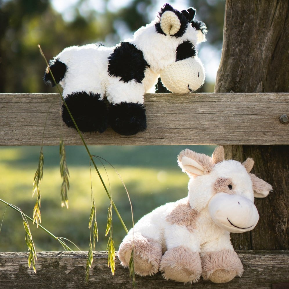 Baby plush toy Coco the Cow beige and black