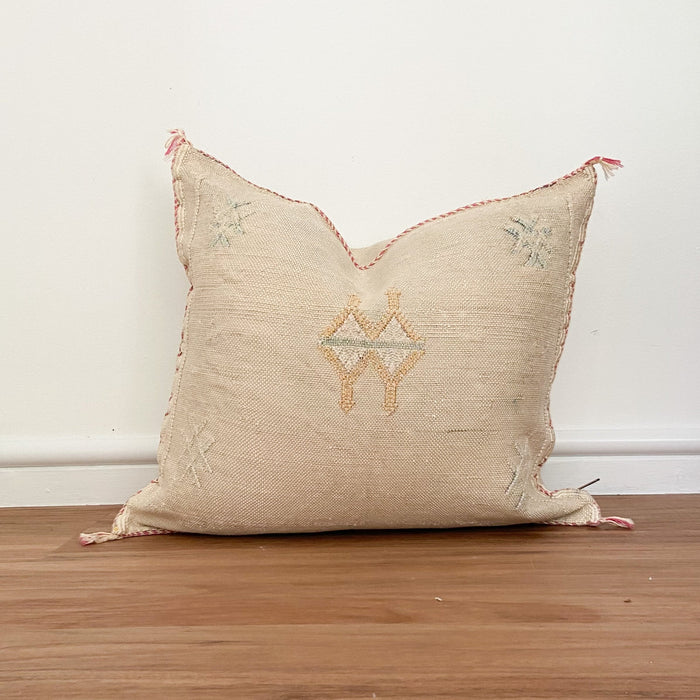 Cactus Silk Cushion | Dark Cream, Blue & Beige