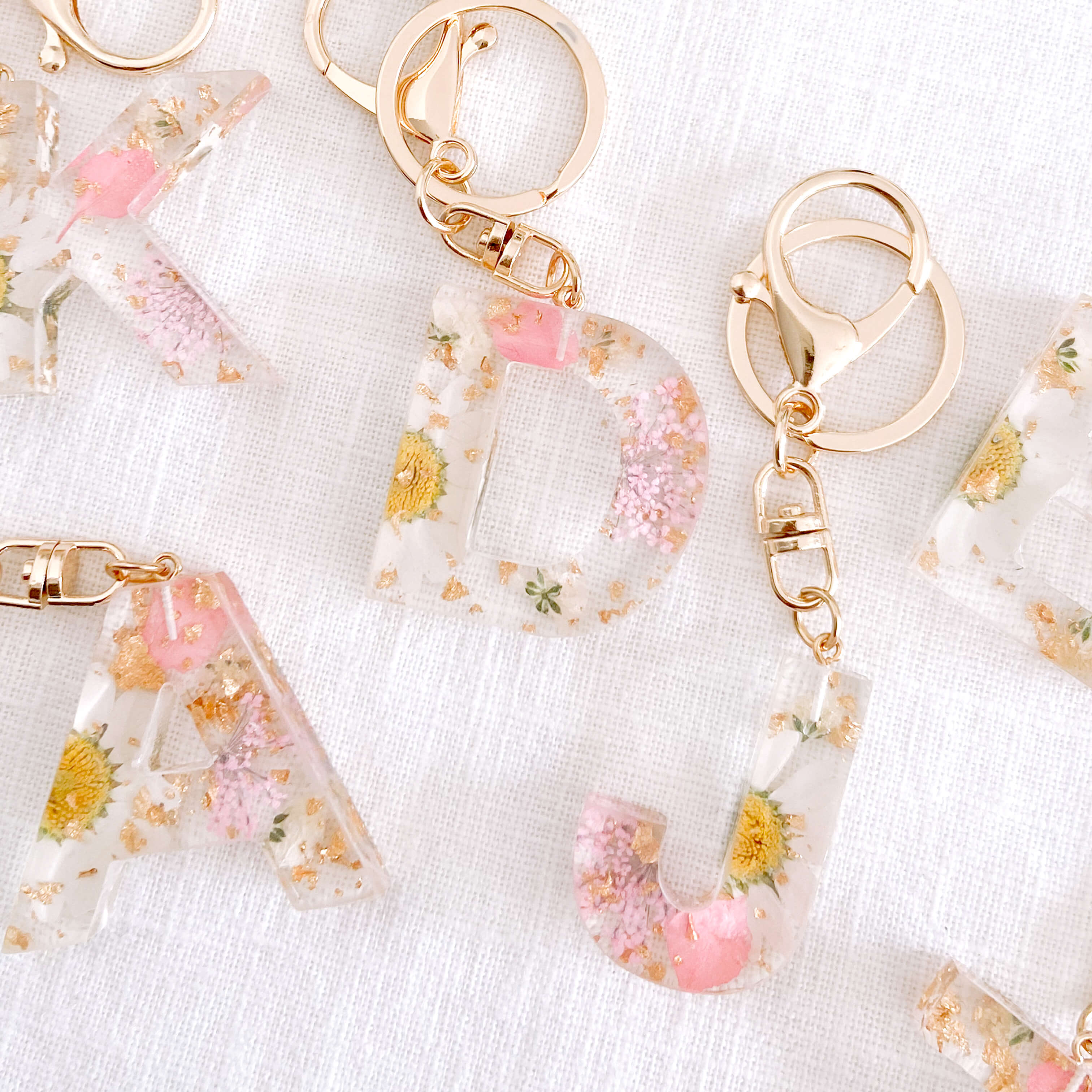 Girls backpack accessories. Letter resin keychain or initial keyring