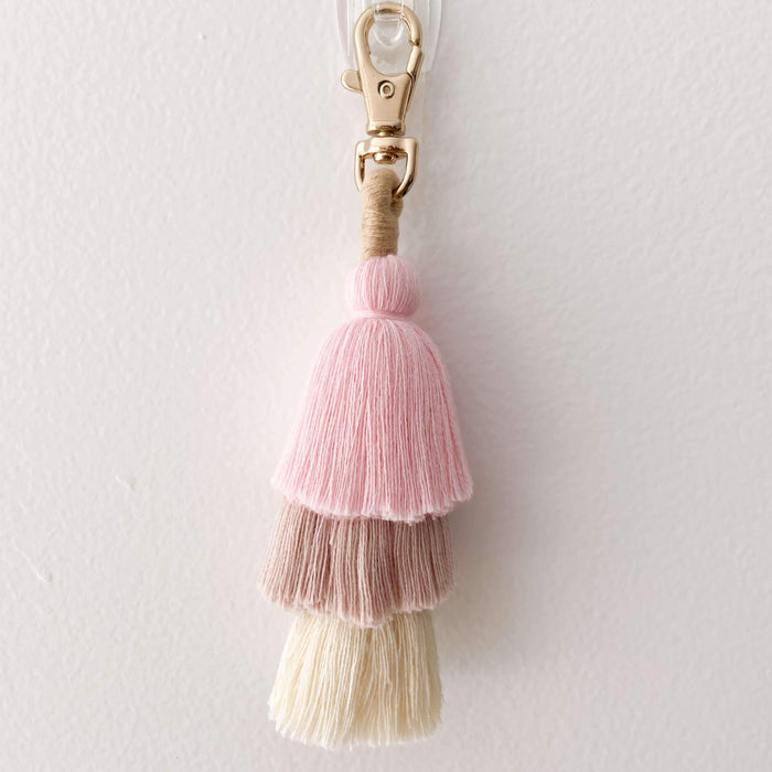 Dusty Pink girls bag accessories. Pink tassel keychain