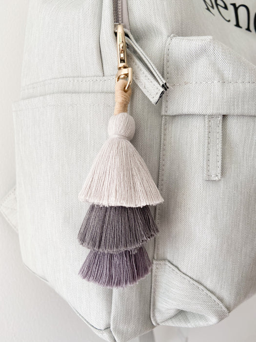 Boys backpack accessories - Grey ombre tassel keychain