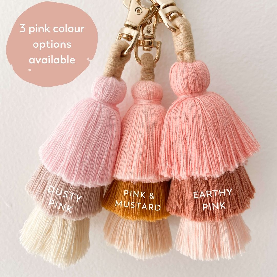 Pink tassel keychains for girls backpacks