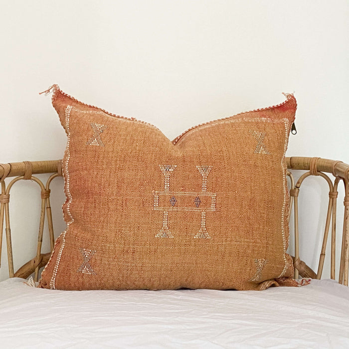 Cactus Silk Cushion | Rust, Blue & White