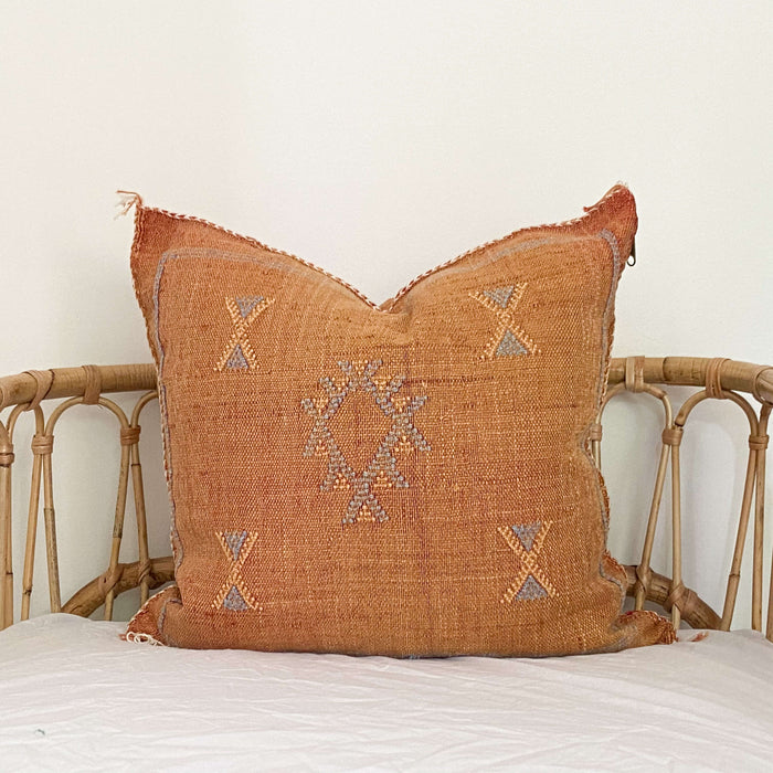 Cactus Silk Cushion | Rust, Blue & Beige
