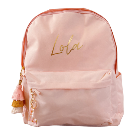 personalised kids backpack in peach with tassel keychain