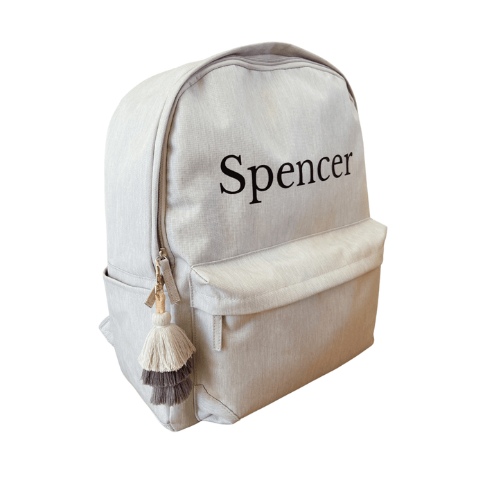 personalised kids daycare bag in light grey with name in black vinyl