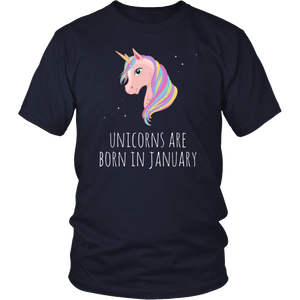 Unicorns Are Born In January Birthday T-Shirt - Men Women