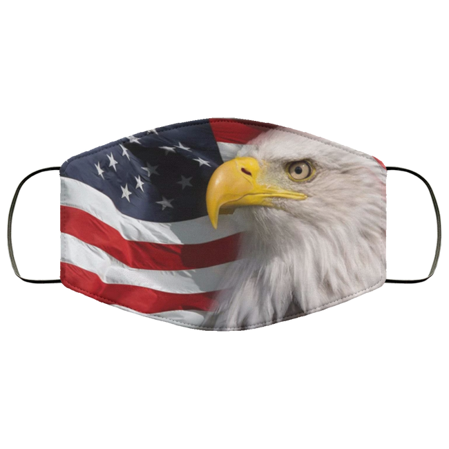 North American Bald Eagle flag face mask antibacterial fabric us - Men Women