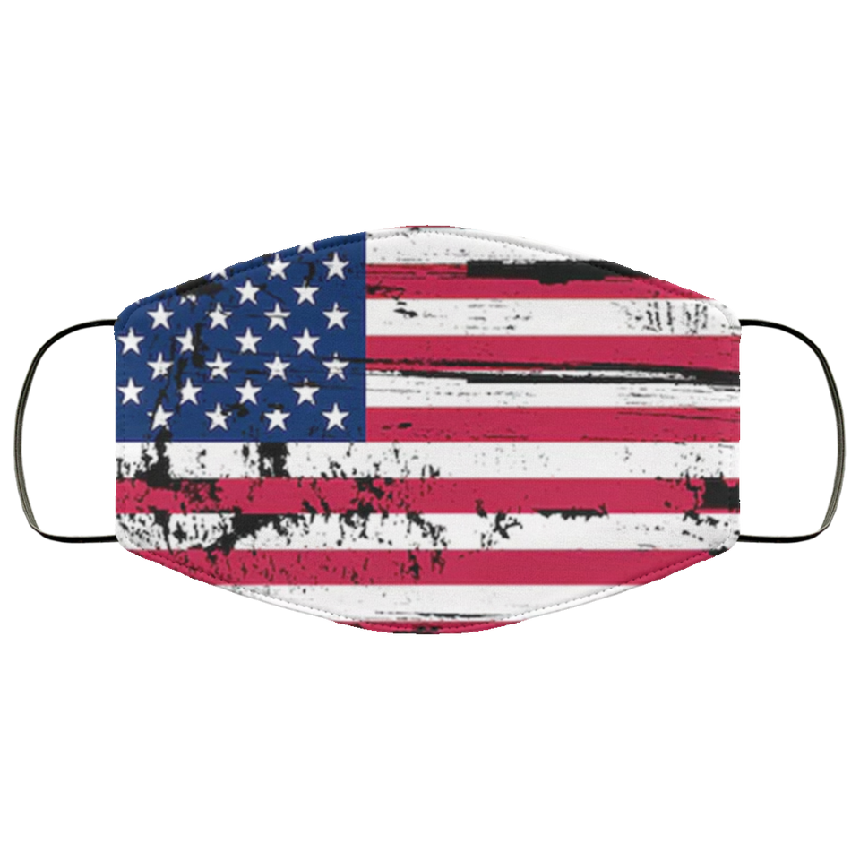 Grunge Old Usa Flag Face Mask - Men Women