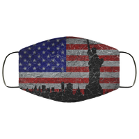 Silhouette statue of liberty on grunge flag Face Mask - Men Women