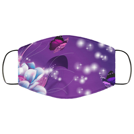 Blue and Purple Flower and Butterflies Face Mask - Teekoc