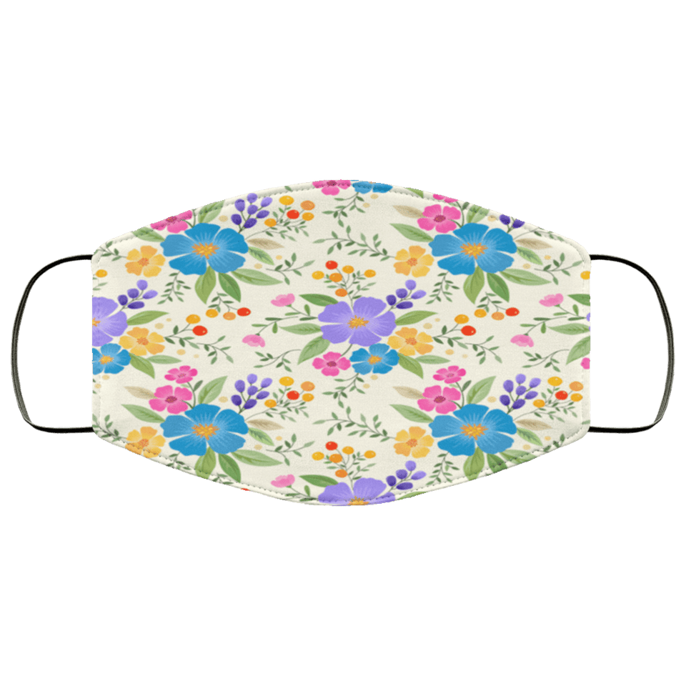 Colorful hand drawn flower seamless Face Mask - Teekoc