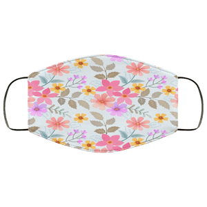 Colorful hand drawn flowers seamless Face Mask