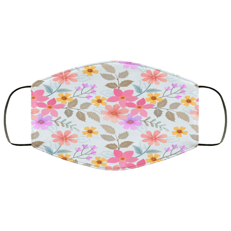 Colorful hand drawn flowers seamless Face Mask - Teekoc