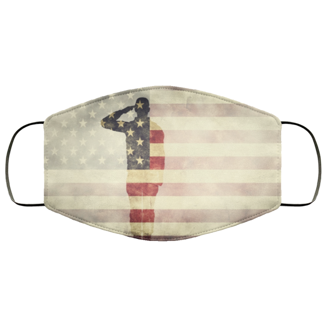 double-exposure-of-a-soldier-and-an-American-flag Face Mask - Men Women