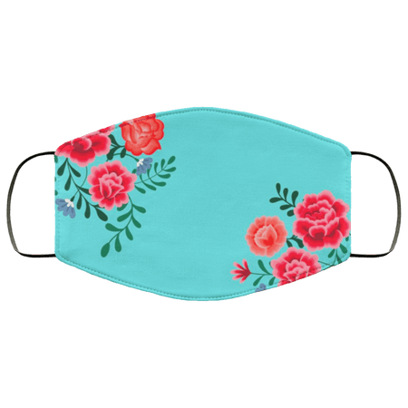 Blue Frida Kahlo Flower Face Mask - Teekoc