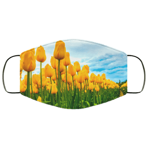 Field of yellow tulips Face Mask
