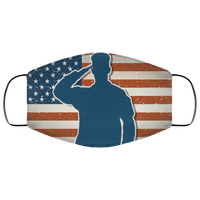 US Army soldier on grunge american flag Face Mask - Men Women