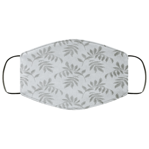 Falling Leaves White Gray Embroidered Face Mask