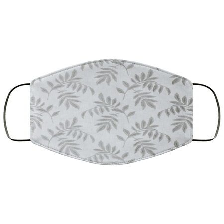 Falling Leaves White Gray Embroidered Face Mask - Teekoc