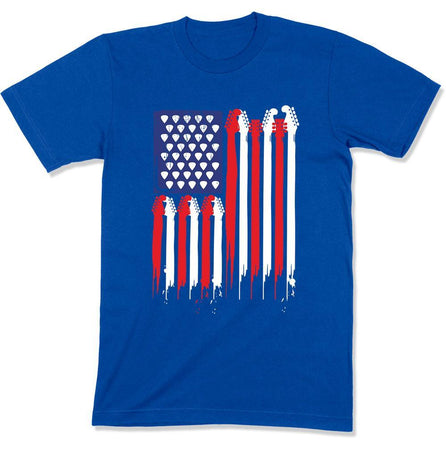 4th of July Guitar Flag - T Shirt - GD-07 - Men Women