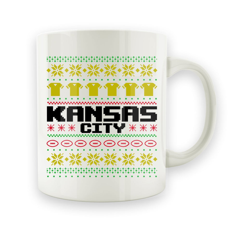 Kansas City Football Ugly Christmas Sweater - 15oz Mug - Men Women