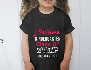 Sunshine-G Kid's I Survived Kindergarten Class of 2020 Graduation T-Shirt Toilet Paper Top - Men Women
