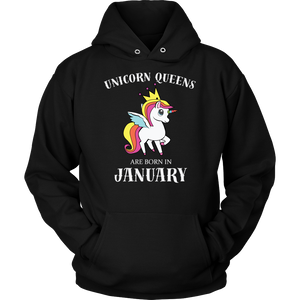 Unicorn Queens Are Born In January T-Shirt Birthday - Men Women
