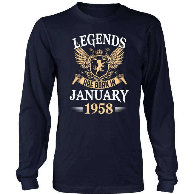 Legends Are Born In January 1958 Birthday Gift T-Shirt - Men Women