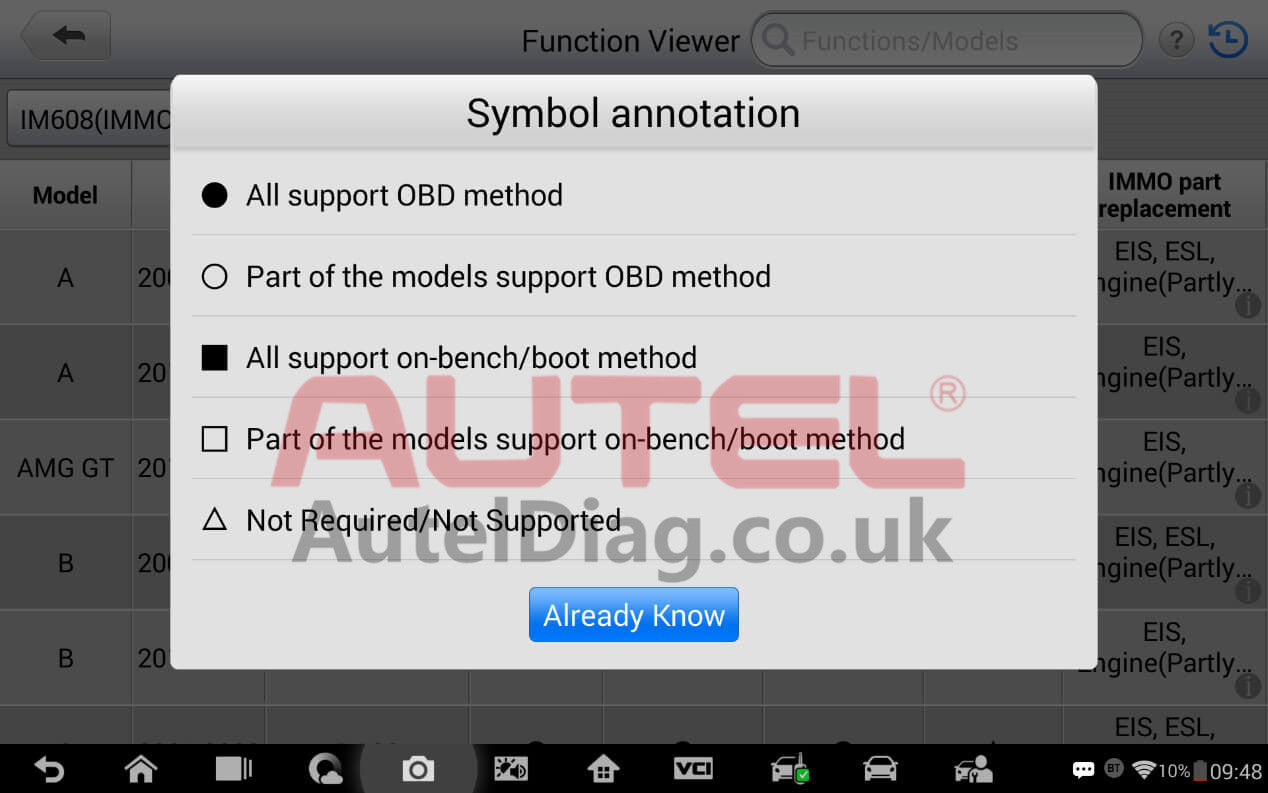 How to check whether the immo function is supported or not with your vehicle 2
